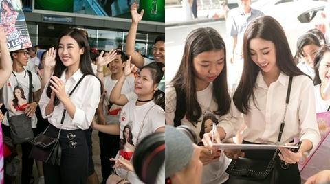 Hoa hậu Mỹ Linh được mẹ đưa tiễn lên đường dự thi Miss World 2017