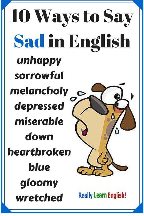10 từ đồng nghĩa với 'sad' trong tiếng Anh