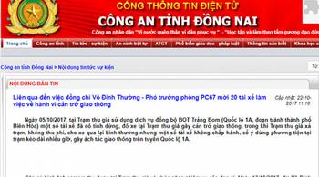 Công an Đồng Nai thông tin vụ Thượng tá CSGT Võ Đình Thường