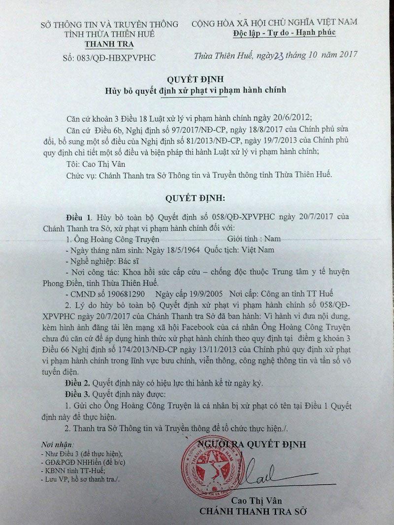 Hoàn trả BS Hoàng Công Truyện 5 triệu đồng phạt oan