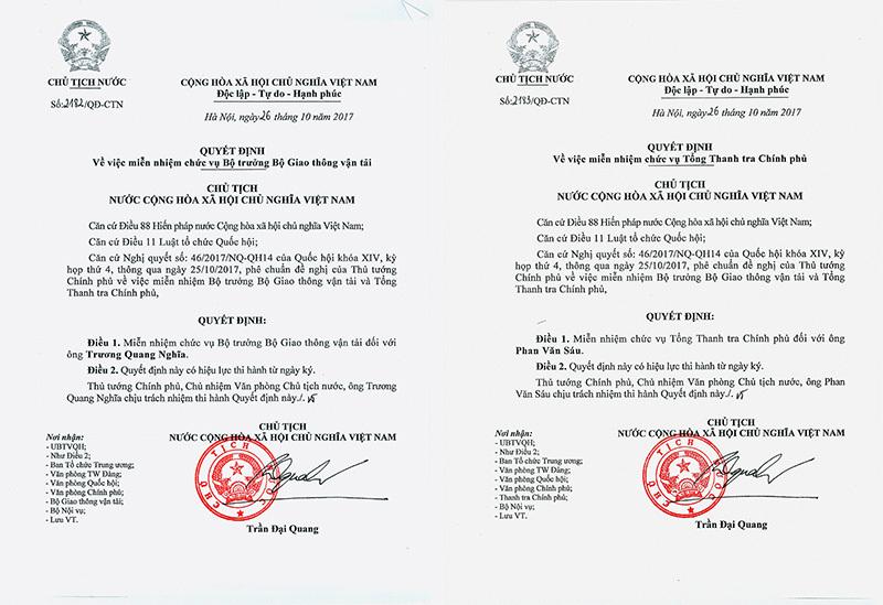 Chủ tịch nước ký quyết định miễn nhiệm, bổ nhiệm 2 thành viên Chính phủ