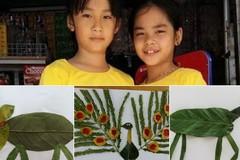 Đôi bạn lớp 2 sáng tạo album thế giới động vật ngộ nghĩnh từ lá cây