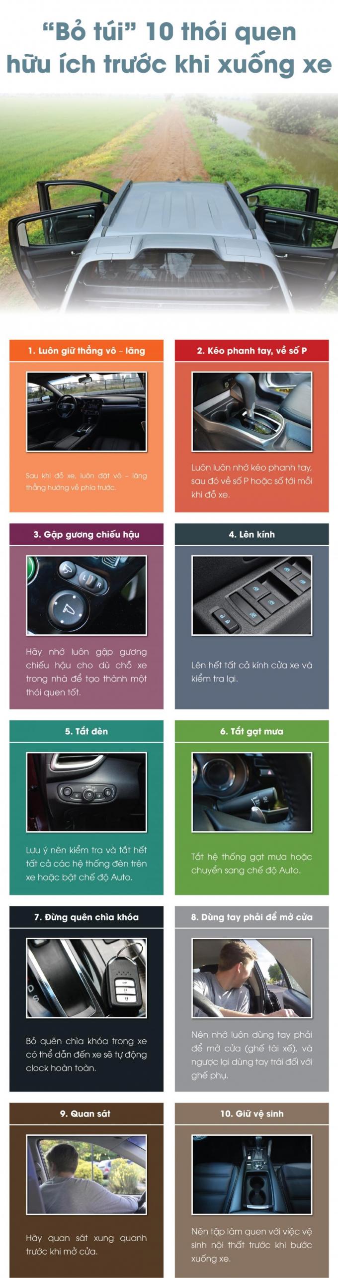 10 điều cần ghi nhớ trước khi rời ô tô