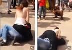 Cô gái cởi phăng áo, đè ngực vào mặt kẻ quấy rối