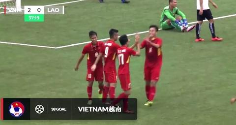 U19 Việt Nam 2-0 U19 Lào: Quang Nho ghi bàn phút 38