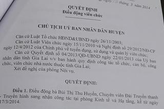 Điều chuyển con gái Bí thư huyện bổ nhiệm trái quy định