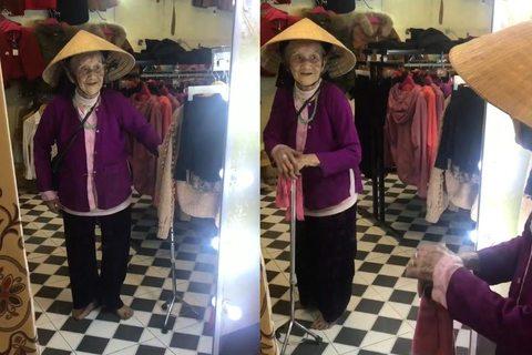 Cụ bà 103 tuổi nói chuyện với mình trong gương gây xúc động - ảnh 1
