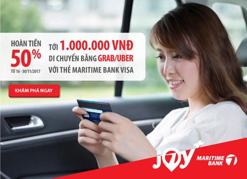 Đi Grab/Uber nửa giá với thẻ tín dụng du lịch MaritimeBank Visa - ảnh 1