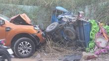 Ô tô bán tải đâm nát xe ba gác, 1 người thiệt mạng