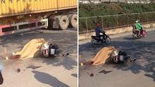 Người phụ nữ bị xe tải cán chết thương tâm ở Pháp Vân