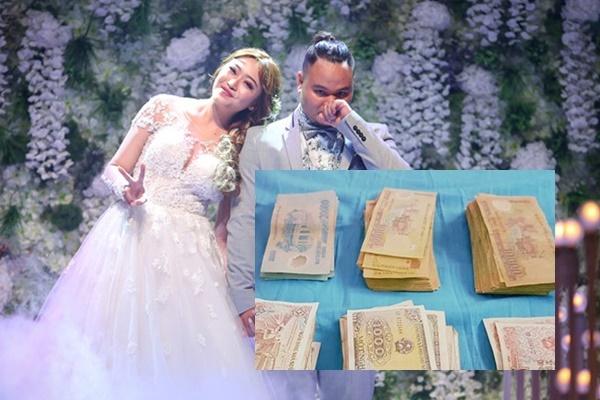 Bạn bè mừng toàn tiền lẻ khi đến đám cưới Vinh Râu