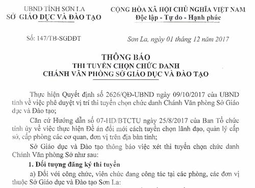 Sơn La thi tuyển chức danh Chánh văn phòng Sở GD-ĐT