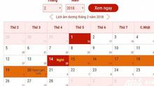 Lịch nghỉ Tết Nguyên đán Mậu Tuất 2018 chính thức của người lao động