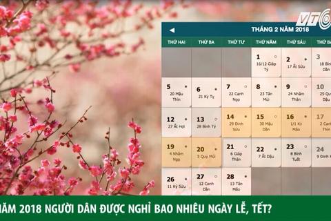 Năm 2018, dân được nghỉ bao nhiêu ngày lễ, Tết?
