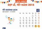 Chi tiết lịch nghỉ dịp lễ, tết năm 2018