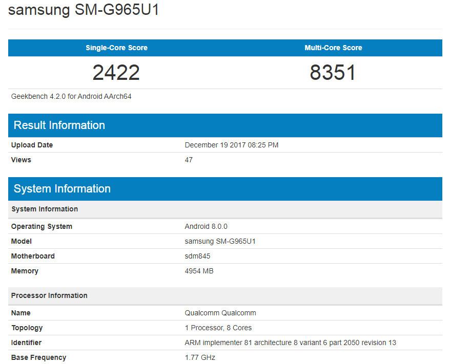 Galaxy S9 Plus lộ kết quả benchmark tốt nhất từ trước tới nay