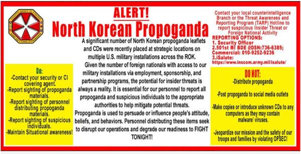 Quân Mỹ báo động vì tờ rơi Triều Tiên