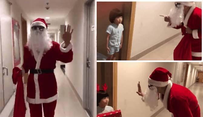Duy Mạnh 'lầy lội' cải trang ông già Noel để troll con trai