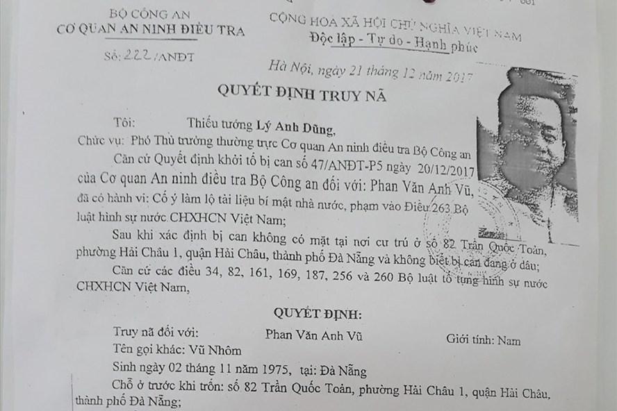 Vũ Nhôm,Phan Văn Anh Vũ,truy nã Vũ Nhôm,Đà Nẵng,Út Trọc