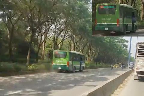 Xe buýt chạy ngược chiều trên phố Sài Gòn