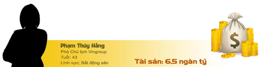 Phạm Nhật Vượng,tỷ phú Việt,tỷ phú USD,đại gia Việt,Nguyễn Đức Tài,Trần Đình Long,Trịnh Văn Quyết,Bùi Nhơn Thành,Phạm Thúy Hằng,Phạm Thu Hương,Vũ Thu Hiền,Nguyễn Thị Phương Thảo