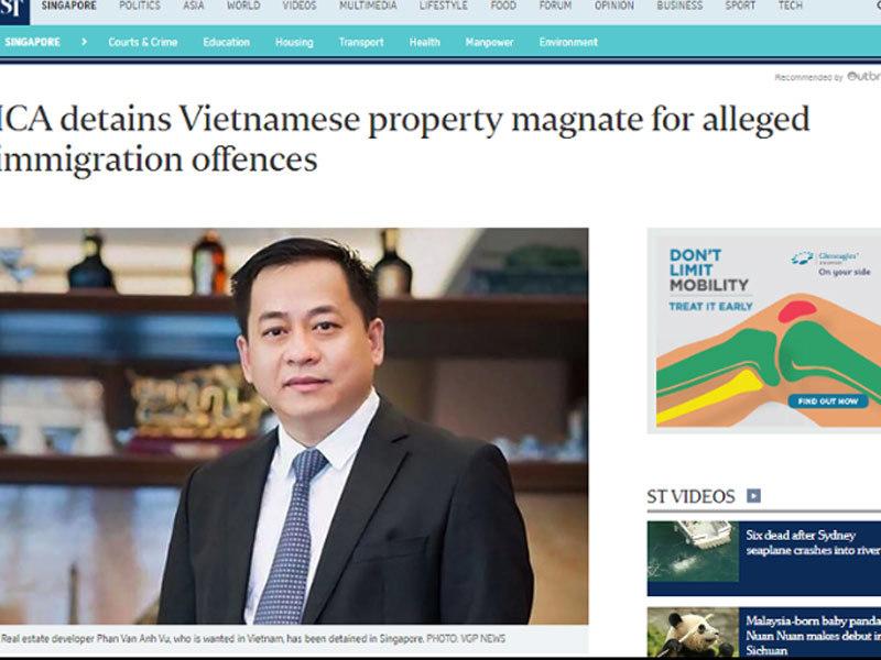 Tờ Straits Times đăng hình ảnh ông Phan Van Anh Vu
