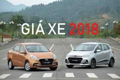 Giá bán năm 2018 của những dòng xe ăn khách tại Việt Nam