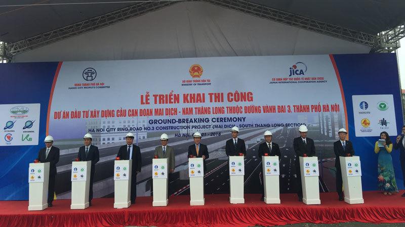 Động thổ cầu cạn 5.300 tỷ đồng đoạn Mai Dịch- cầu Thăng Long