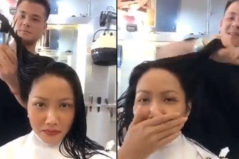 Hoa hậu cắt tóc