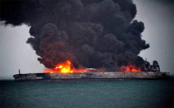 Tàu Iran cháy 3 ngày chưa dứt ở ngoài khơi Trung Quốc
