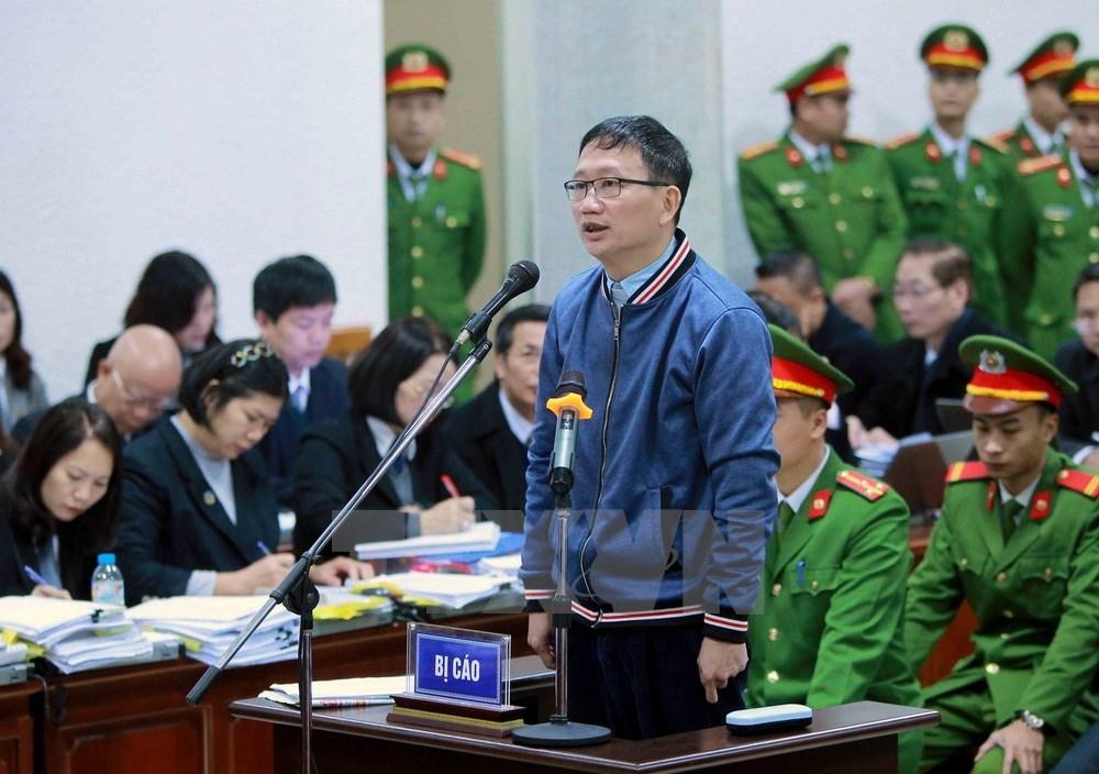 Bị cáo Trịnh Xuân Thanh tại tòa sáng nay. Ảnh: TTXVN