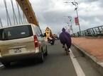 Xế hộp chắn gió cho xe đạp qua cầu khiến cộng đồng cảm phục