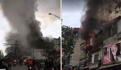 cháy gần chợ Mơ