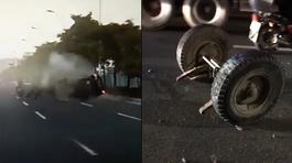 Xe công nông thành đống sắt vụn sau khi bị xế hộp tông từ phía sau