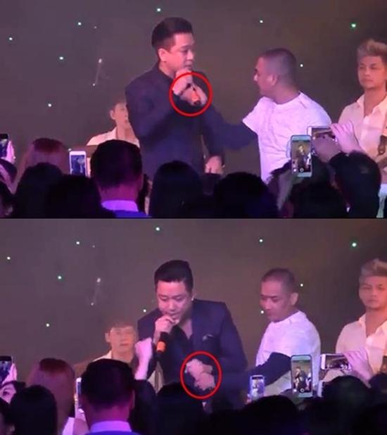 Tuấn Hưng đứng hình khi bị khán giả lao lên sân khấu giật mic