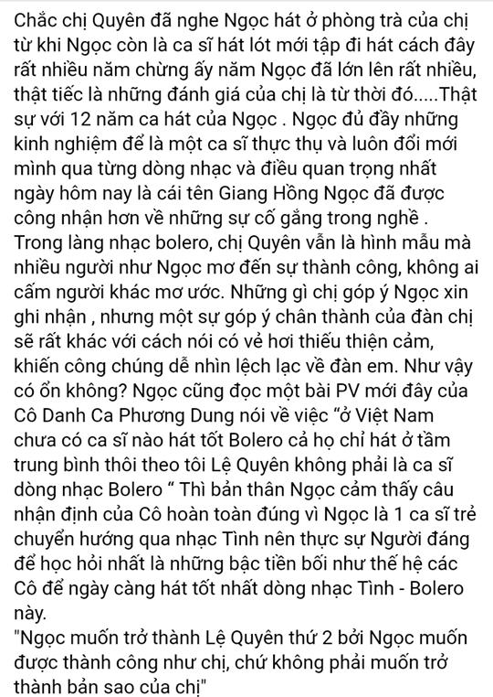 Giang Hồng Ngọc phản pháo phát ngôn của Lệ Quyên