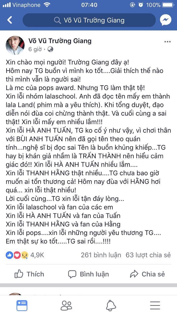 Vì sao Trường Giang phải công khai xin lỗi Thanh Hằng?