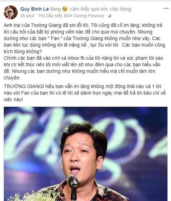 MC Quý Bình phẫn nộ vì bị fan của Trường Giang nhắn tin chửi bới