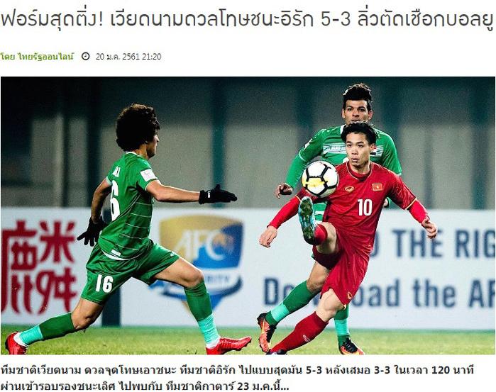 Người Thái ngả mũ thán phục chiến công U23 Việt Nam