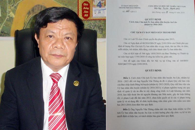 Hải Phòng cách chức Chủ tịch huyện An Lão