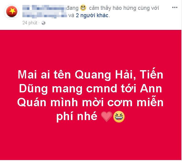 Chủ quán cơm chiêu đãi miễn phí tất ai có tên là Quang Hải, Tiến Dũng