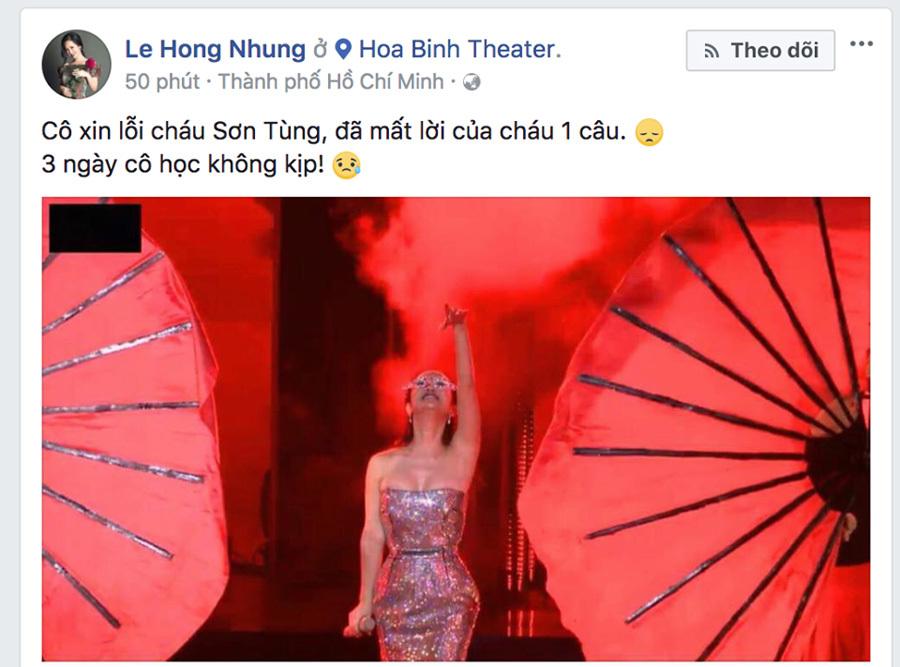 Hồng Nhung xin lỗi Sơn Tùng vì hát quên lời 'Lạc Trôi'