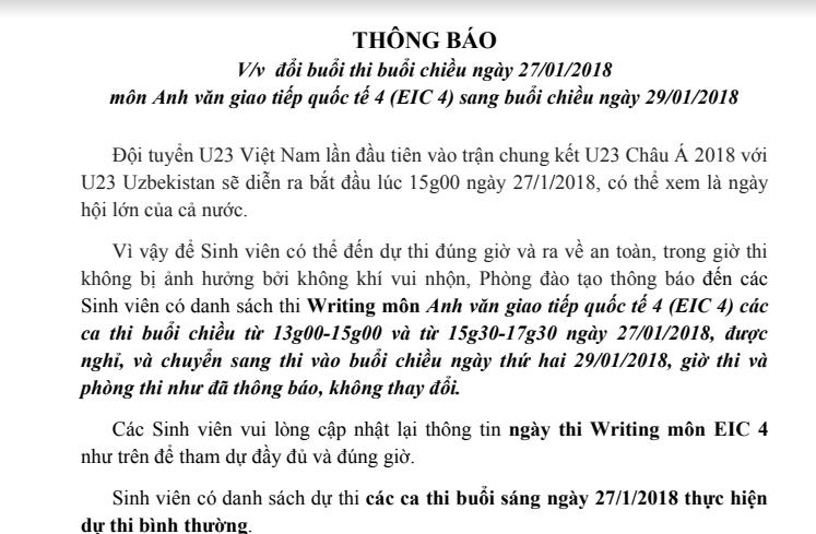 Trường đại học dời lịch thi, cho SV nghỉ học vì U23 Việt Nam đá chung kết
