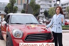 MC Mai Ngọc sơn ô tô tiền tỷ màu cờ đỏ sao vàng cổ vũ U23 Việt Nam