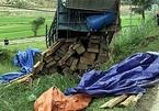 Xe tải chở keo bị lật, lộ hàng chục phách gỗ lậu